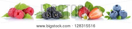 Collection Of Berries Strawberries Blueberries Raspberries Berry Fruits In A Row Isolated On White