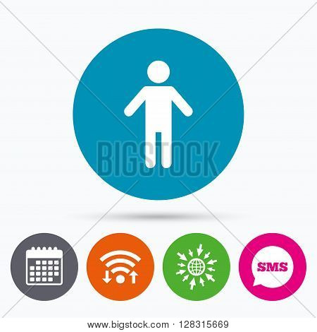 Wifi, Sms and calendar icons. Human male sign icon. Man Person symbol. Male toilet. Go to web globe.