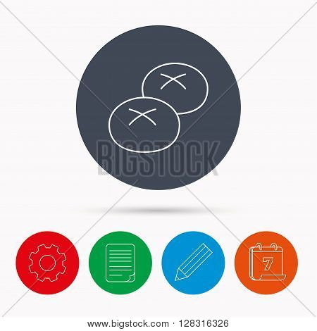 Bread rolls or buns icon. Natural food sign. Bakery symbol. Calendar, cogwheel, document file and pencil icons.