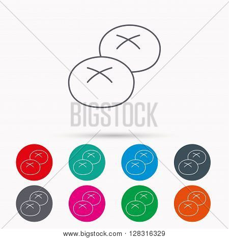 Bread rolls or buns icon. Natural food sign. Bakery symbol. Linear icons in circles on white background.