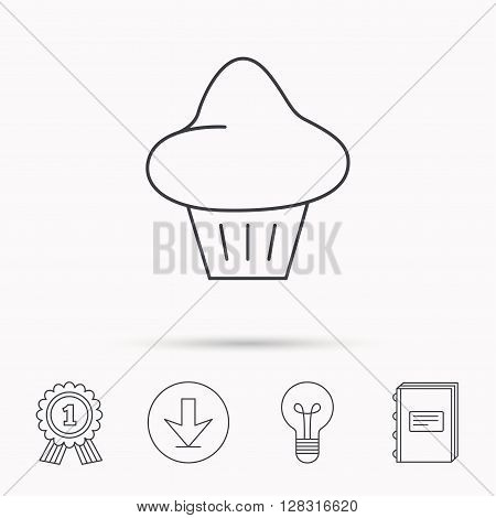 Brioche icon. Bread bun sign. Bakery symbol. Download arrow, lamp, learn book and award medal icons.
