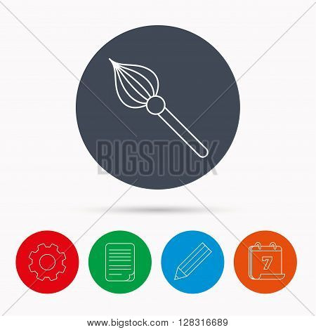 Brush icon. Paintbrush tool sign. Artist instrument symbol. Calendar, cogwheel, document file and pencil icons.
