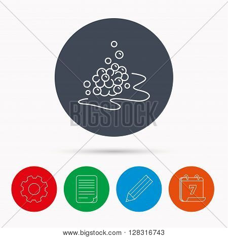 Bubbles icon. Foam for bathing sign. Washing or shampoo symbol. Calendar, cogwheel, document file and pencil icons.