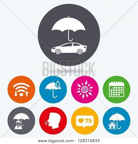 Wifi, like counter and calendar icons. Life, Real estate or Home insurance icons. Umbrella with water drop symbol. Car protection sign. Human talk, go to web.