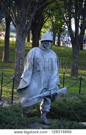 WASHINGTON, DC - APR 16: Korean War Veterans Memorial in Washington, DC, as seen on April 16, 2016. The memorial consists of 19 stainless steel statues, each weighing nearly 1,000 pounds.