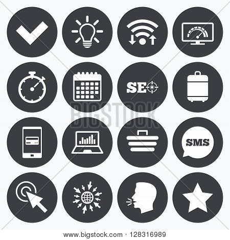 Wifi, calendar and mobile payments. Internet, seo icons. Bandwidth speed, online shopping and tick signs. Favorite star, notebook chart symbols. Sms speech bubble, go to web symbols.