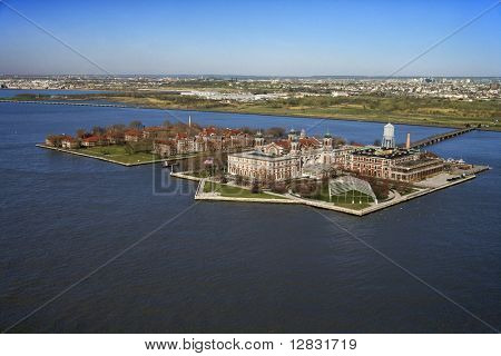 Aerial view of Ellis Island, New York City.