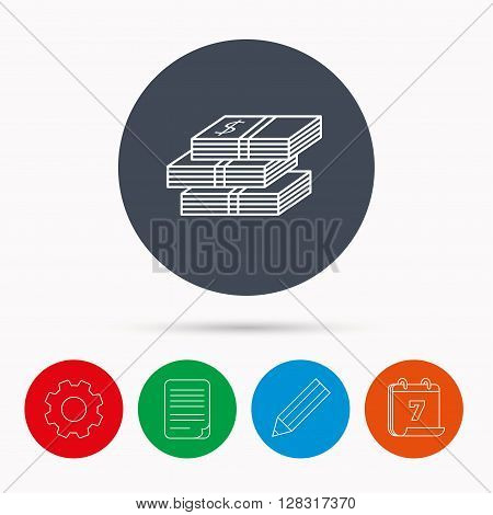 Cash icon. Dollar money sign. USD currency symbol. 3 wads of money. Calendar, cogwheel, document file and pencil icons.