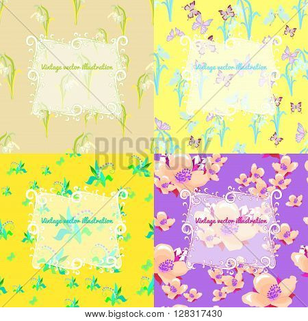 set of jasmine butterfly lily yellow snowdrop for a card vector illustration