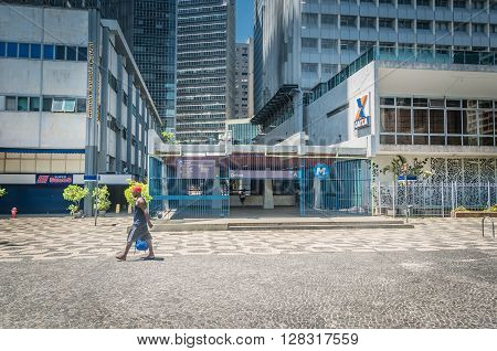 Rio de Janeiro Brasil - March 06 2016: architetural details building streets of Downtown at Carioca Subway in Rio de Janeiro