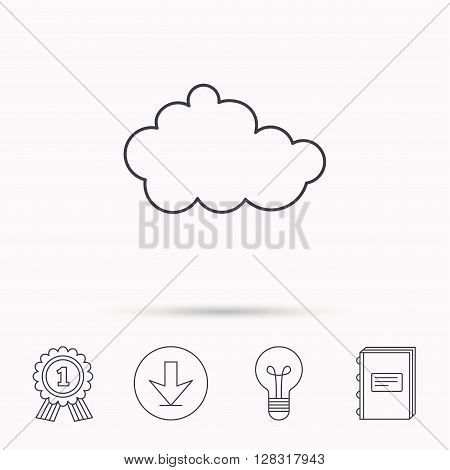 Cloud icon. Overcast weather sign. Meteorology symbol. Download arrow, lamp, learn book and award medal icons.