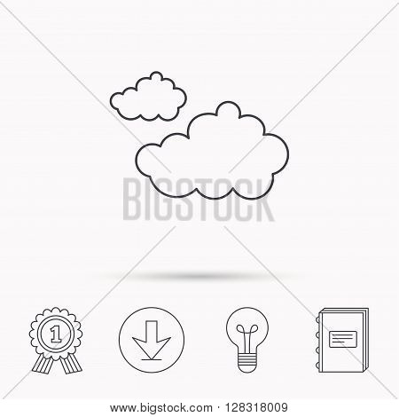 Cloudy icon. Overcast weather sign. Meteorology symbol. Download arrow, lamp, learn book and award medal icons.