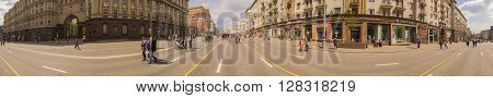 MOSCOW, RUSSIA - 1 May , 2016:  - Panorama Pedestrianized Tverskaya Street street in the spring morning road blocked