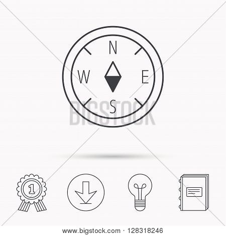 Compass navigation icon. Geographical orientation sign Download arrow, lamp, learn book and award medal icons.