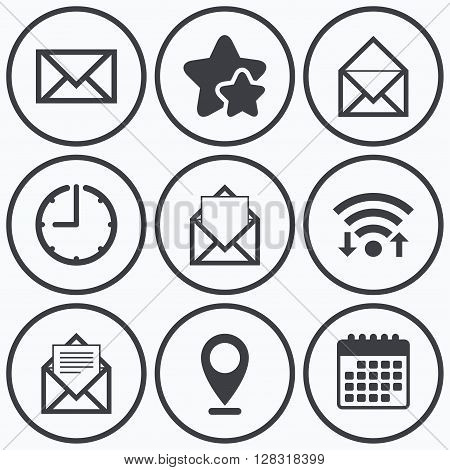 Clock, wifi and stars icons. Mail envelope icons. Message document symbols. Post office letter signs. Calendar symbol.