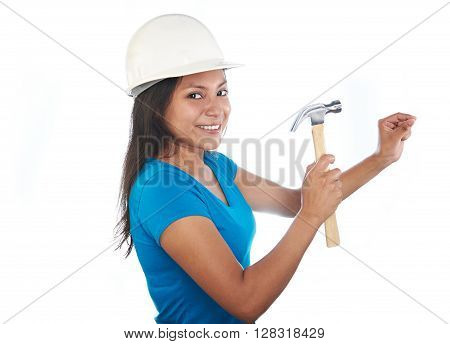 Young Latino Girl With Hammer