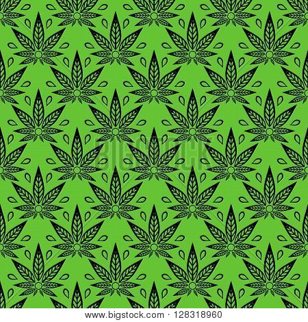 Seamless pattern with of cannabis leaves on a green background.