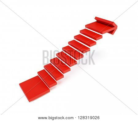 stairs going  upward, isolated 3d rendering