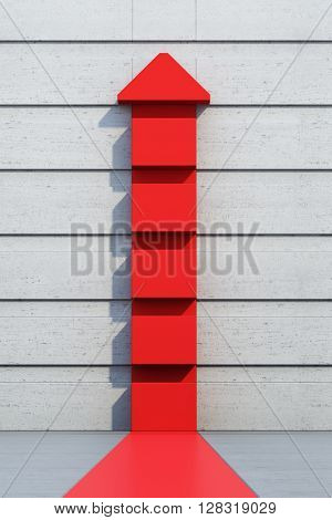 red arrow going upward, 3d rendering