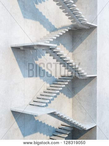 stairs leading upward, architectural composition, 3d rendering