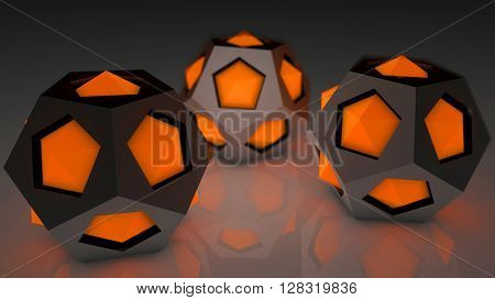 Fantasy hi tech plastic modules with luminescent orange elements on a reflexive floor. Futuristic abstract technology background. Depth of field settings. 3d rendering.