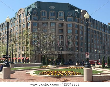 WASHINGTON, DC - APR 15: Mandarin Oriental hotel in Washington, DC, as seen on April 15, 2016. The hotel provides guests with Washington Monument and Marina views.