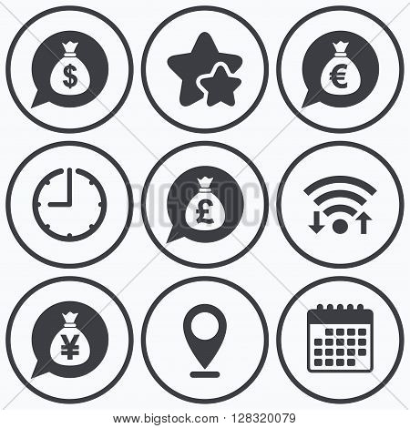 Clock, wifi and stars icons. Money bag icons. Dollar, Euro, Pound and Yen speech bubbles symbols. USD, EUR, GBP and JPY currency signs. Calendar symbol.