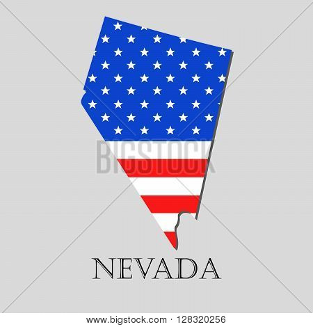 Map of the State of Nevada and American flag illustration. America Flag map - vector illustration.