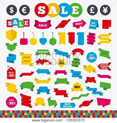 Banners, web stickers and labels. Dollar, Euro, Pound and Yen currency icons. USD, EUR, GBP and JPY money sign symbols. Price tags set.