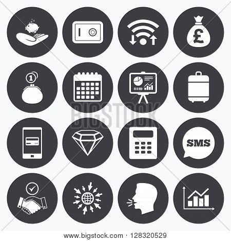 Wifi, calendar and mobile payments. Money, cash and finance icons. Handshake, safe and calculator signs. Chart, safe and jewelry symbols. Sms speech bubble, go to web symbols.