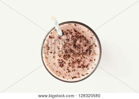 Delicious milkshake on a white background