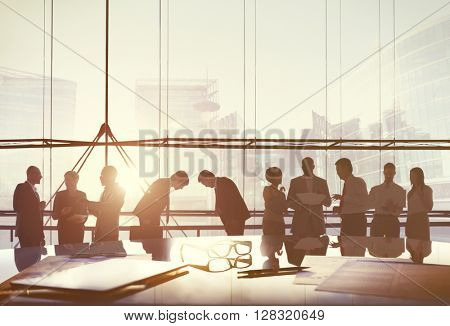 Business People Meeting Greeting Agreement Bowing Concept
