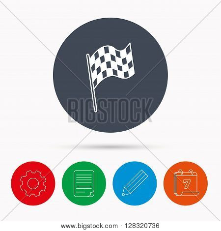 Finish flag icon. Start race sign. Calendar, cogwheel, document file and pencil icons.