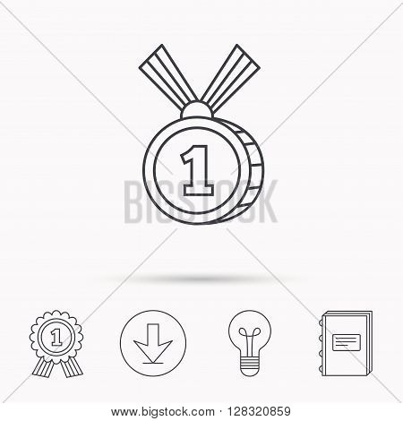 Gold medal award icon. First place sign. Winner symbol. Download arrow, lamp, learn book and award medal icons.