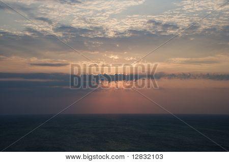 Scenic Bald Head Island North Carolina landscape of sunrise over ocean.
