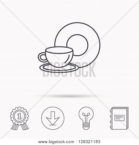 Coffee cup icon. Food and drink sign. Download arrow, lamp, learn book and award medal icons.