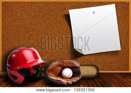 Baseball equipment consisting of glove helmet bat and baseball with background cork board with copy space.