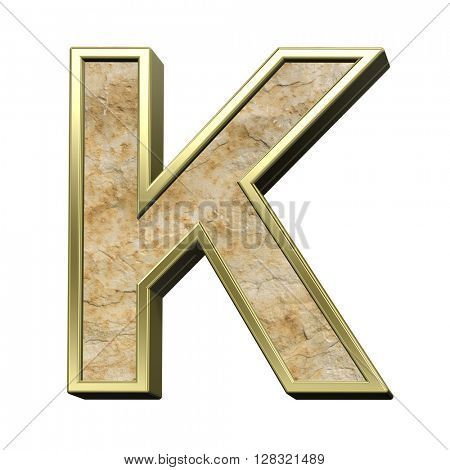 One letter from sandstone with gold frame alphabet set isolated over white. 3D illustration.