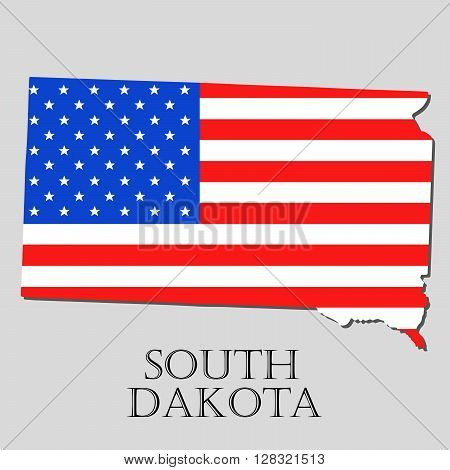 Map of the State of South Dakota and American flag illustration. America Flag map - vector illustration.