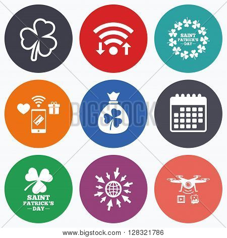 Wifi, mobile payments and drones icons. Saint Patrick day icons. Money bag with clover sign. Wreath of trefoil shamrock clovers. Symbol of good luck. Calendar symbol.