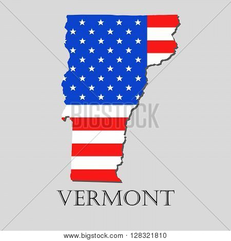 Map of the State of Vermont and American flag illustration. America Flag map - vector illustration.
