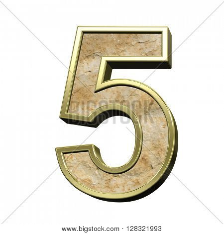 One digit from sandstone with gold frame alphabet set isolated over white. 3D illustration.
