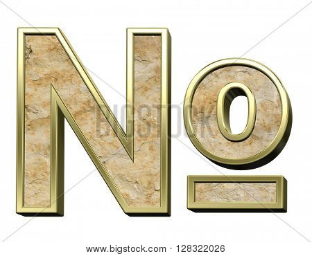 Number sign from sandstone with gold frame alphabet set isolated over white. 3D illustration.