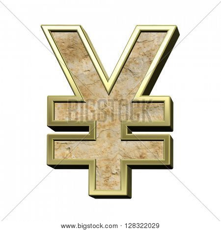 Yen sign from sandstone with gold frame alphabet set isolated over white. 3D illustration.