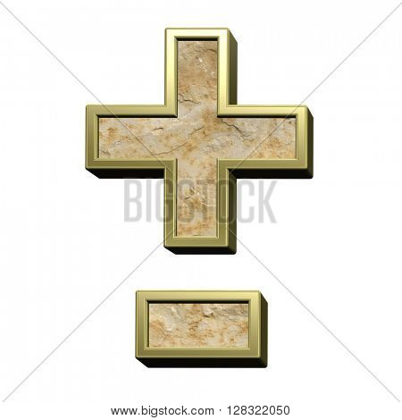Hyphen, minus, plus marks from sandstone with gold frame alphabet set isolated over white. 3D illustration.