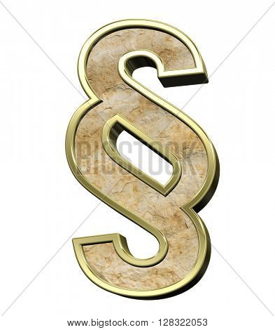 Paragraph sign from sandstone with gold frame alphabet set isolated over white. 3D illustration.