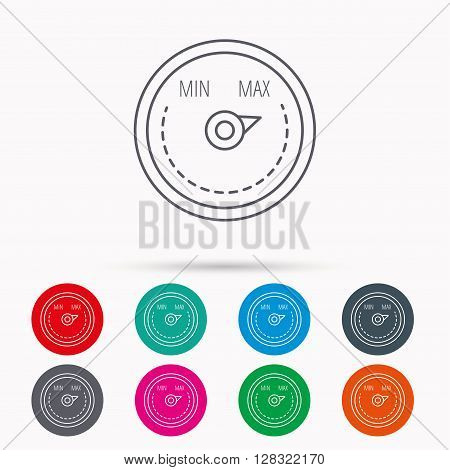 Heat regulator icon. Radiator thermometer sign. Linear icons in circles on white background.