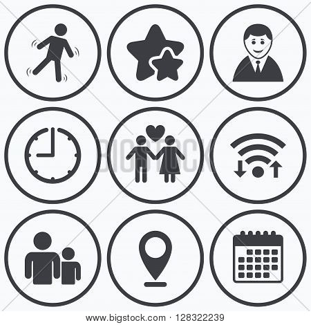 Clock, wifi and stars icons. Businessman person icon. Group of people symbol. Man love Woman or Lovers sign. Caution slippery. Calendar symbol.