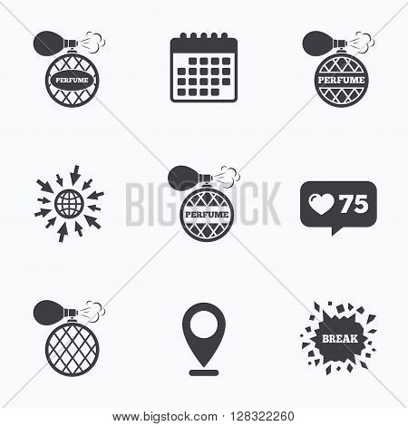 Calendar, like counter and go to web icons. Perfume bottle icons. Glamour fragrance sign symbols. Location pointer.