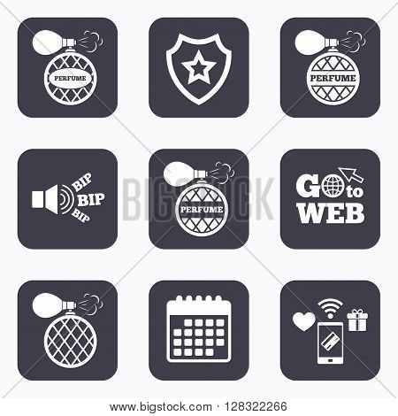 Mobile payments, wifi and calendar icons. Perfume bottle icons. Glamour fragrance sign symbols. Go to web symbol.